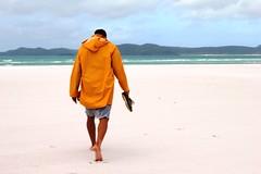 walking away, whitehaven beach (NiklasPlutte) Tags: travel boy beach colors sand australia australien reise whitehavenbeach whitsundayislands