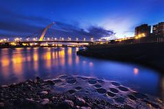 (Explored) () Tags: bridge sunset reflection night taiwan taipei                bluemoment