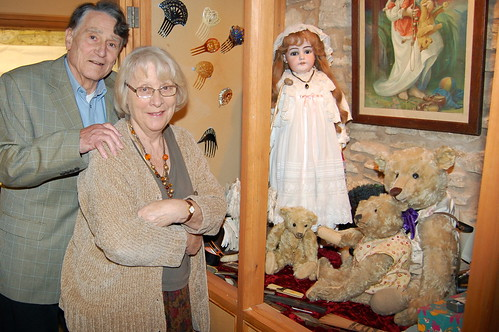 George and Barbara with some of the toys they are keeping for sentimental reasons: Henrietta and Wellington (back) with fellow Steiff bears Ashby and Farnell