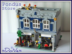 Lego Pondus store 06 (=DoNe=) Tags: street pet green shop corner fire cafe lego market glenn grand miller homemade orchestra custom emporium grocer brigade the cchouse legomodularbuildings