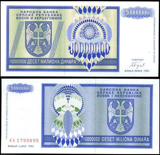 10 milónov dinárov Bosna a Hercegovina 1993, Pick 144