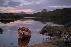Assynt Dusk. (Gordie Broon.) Tags: summer holiday mountains nature water reflections landscape geotagged photography scotland boat fishing scenery alba scenic escocia graham corbett schottland ecosse suilven assynt canisp sutherlandshire canoneos7d coth5 gordiebroon scottishwesternhighlands lochdruimsuardalain