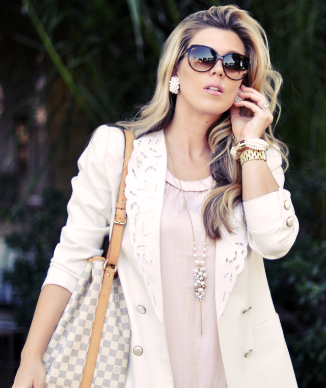 pearl  earrings +   pearl necklace   + gucci sunglasses + vintage white blazer