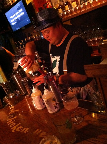 Rocky Yeh mixing up some libations
