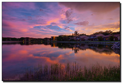 Rain to the West at Sunset (Fraggle Red) Tags: pink sunset lake clouds bravo florida neighborhood northmiamibeach canonef1740mmf4lusm hdr inourneighborhood 3exp miamidadeco dphdr