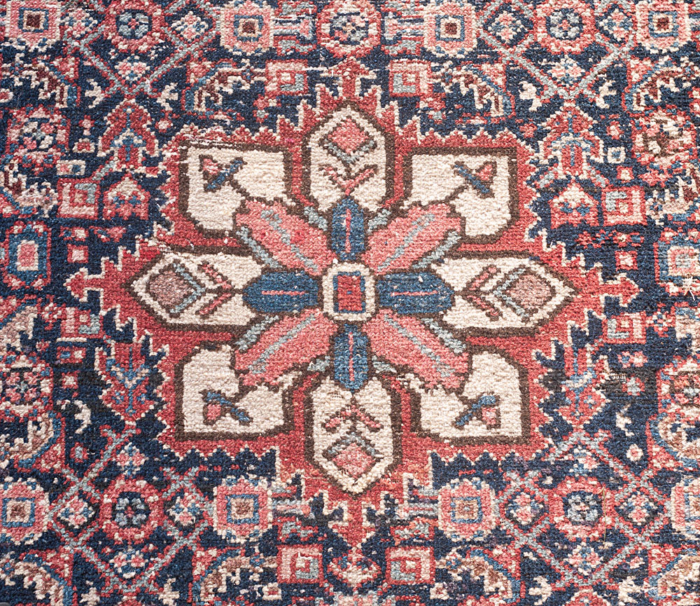 Antique Senneh Persian rug 100 yrs old blue grey pink