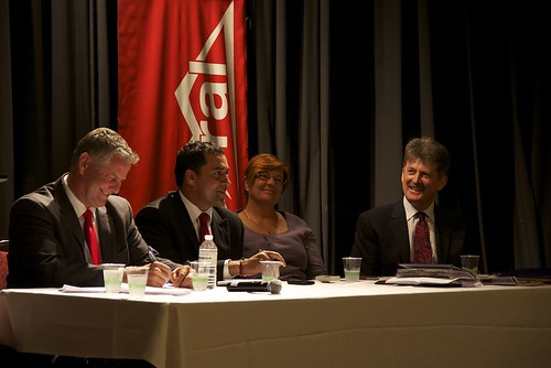 Alberta Liberal Party leadership candidates Bruce Payne, Raj Sherman, Laurie Blakeman, and Hugh MacDonald.