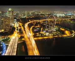 The Huzz & Buzz of Singapore City :: HDR (Artie | Photography :: I'm a lazy boy :)) Tags: architecture modern night photoshop canon buildings landscape lights landscapes highway singapore skyscrapers wideangle aerial iso handheld helix 800 ef 1740mm hdr artie cs3 marinabay 3xp f4l photomatix tonemapping helixbridge tonemap singaporeflyer 5dmarkii 5dm2 eastcoastpkwy