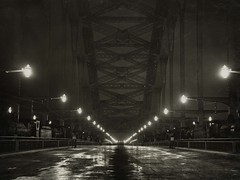 Sydney Harbour Bridge - Deck illuminated during loading tests