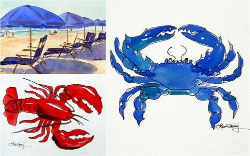 Beach Theme watercolor prints
