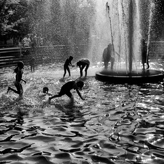Keeping Cool (CVerwaal) Tags: nyc newyorkcity playing newyork water fountain kids children fun lumix washingtonsquarepark panasonic fountains heatwave coolingoff artlegacy lumix20mmf17 panasonicg3