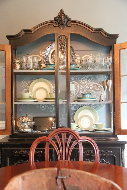 stenciled back of china cabinet