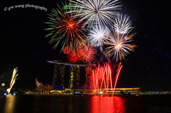 NDP preview firework (Wang Guowen (gw.wang)) Tags: longexposure nightphotography firework esplanade ndp cbd artmuseum mbs sigma1020mm nationaldayparade helixbridge singaporeflyer marinabaysands gwwang wwwon9cloudcom