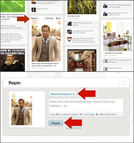 how to repin a picture on pinterest