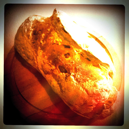 No Knead Bread, filled with roasted red onion & garlic