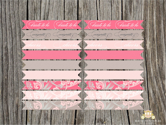 Blushing Bride - cupcake and drink flags
