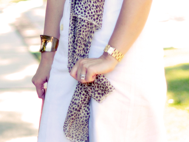 vintage gold cuff bracelet + animal print + gold watch