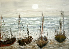 Stormy sea (Il colorista) Tags: family red summer italy sun storm paris color art love nature illustration painting boats see photo italia mare colore estate arte photos drawing natura canvas oil festa rosso spatula pintura       spatola