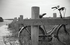 lonely bike (Jos Mecklenfeld) Tags: bw lake film bike 35mm meer minolta rangefinder ishootfilm himatic 40mm groningen fiets 7sii fomapan rokkor westerwolde minoltahimatic7sii epsonv500 fomapan100classic sellingerbeetse