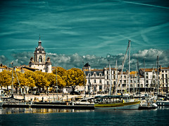 La Rochelle (PeterJ) Tags: sky france clouds port french view harbour centre ships olympus belltower larochelle picturesque vessels 2011 charentesmaritimes poitoucharentes epl1 918mm frompeterj