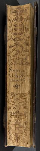 Fore-edge with penwork decoration of Guillermus Altissiodorensis: Summa aurea in quattuor libros Sententiarum Petri Lombardi