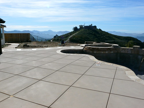 Diamond Cut Control Joints Colored Concrete Sandblast Finish