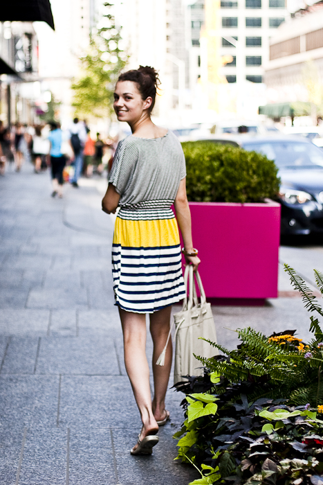 Striped Dress, Street Fashion @ Bloor St. W., Toronto