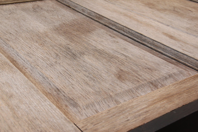 weathered and rustic coffee table top