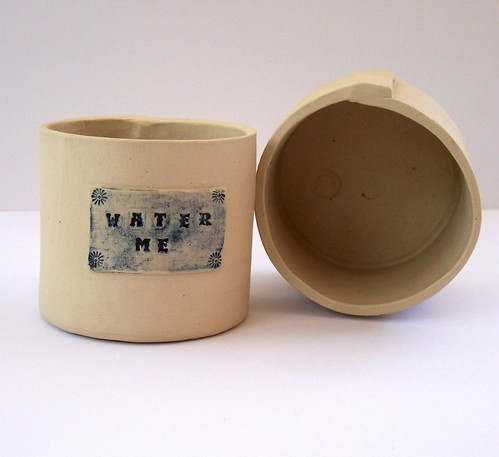 """water me"" stoneware planter by littlebrickhouse"