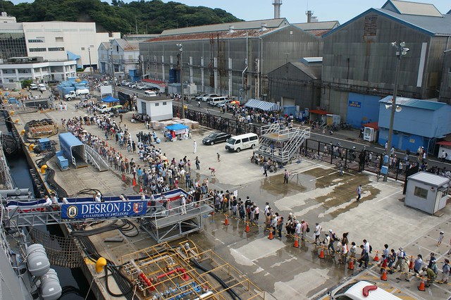 More than 6,000 people stand in a mile-long line for a tour of USS Lassen (DDG 82) at Commander Fleet Activities Yokosuka