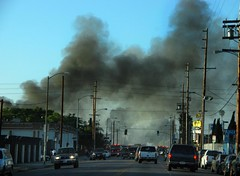 Two Firefighters Injured Battling South Los Angeles Blaze. © Photo by Mike Meadows, click to see more...