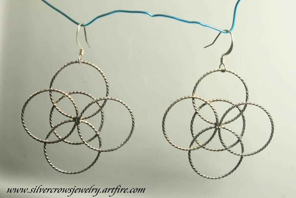 silver Celtic 5 fold earrings