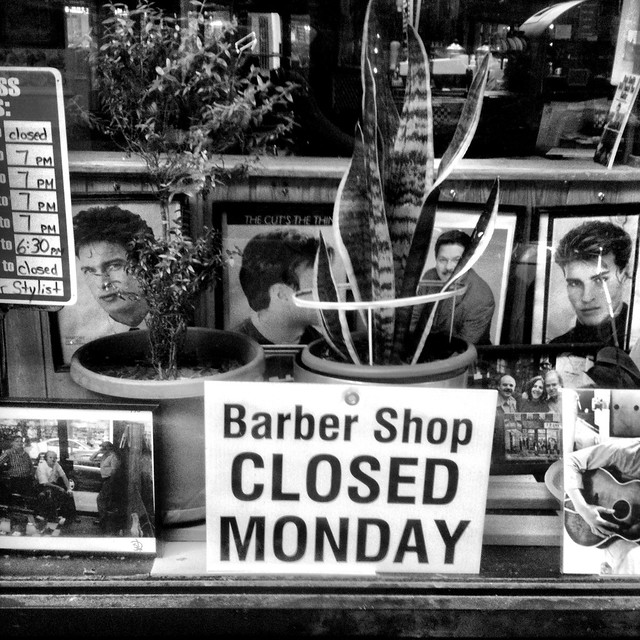 Barber Shop Closed Monday #walkingtoworktoday