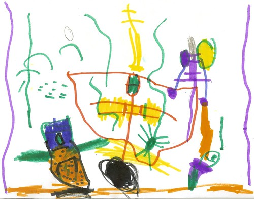 """""""My Creature Owl"""" Asher's Art, 4.5 Years Old"""