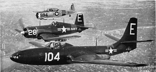 McDonnell FH-1 Phantom, a Vought F4U-1 Corsair, and a North American SNJ Texan in 1951