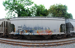 vose (Killer Times) Tags: old railroad summer art car digital train photography graffiti design coast diy md nikon colorful tracks rusty maryland august can baltimore spray east whole western rails local d60 2011 panoramicstitchedwideanglefisheye