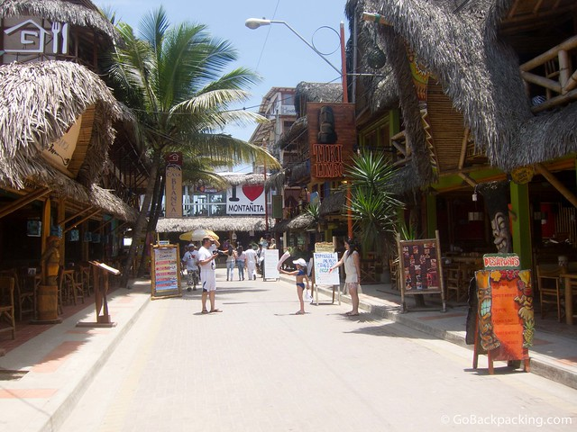 The main street in Montanita