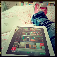 Feet up Friday, with Tiny Tower. (purplelime) Tags: uk pink apple mac converse kicks chucks nikolai iphone ipad macbookair geordielass analogapp fijisquare