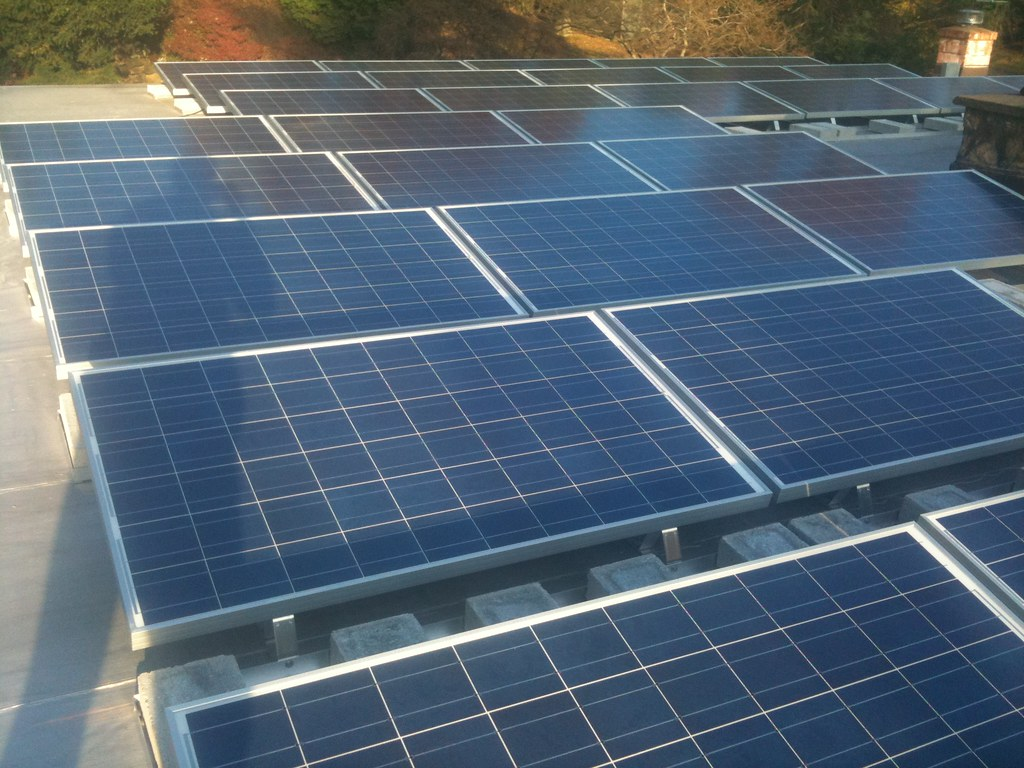 Solar Panels on a Residential Flat Roof