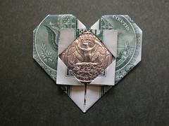 Dollar bill heart (A token of Love) (FJ Contreras) Tags: money love bill origami heart valentine dollar folding orikane