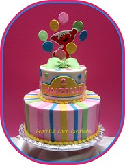 Elmo Birthday Cake (Graceful Cake Creations) Tags: birthday street pink blue green cakes yellow cake kids balloons stripes sesame elmo cream polka polkadots butter bow dots whimsical buttercream elmocake gracefulcakecreations
