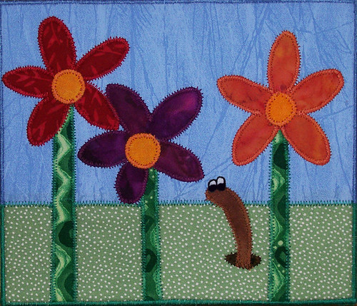 Flowers & Worm large quilted postcard