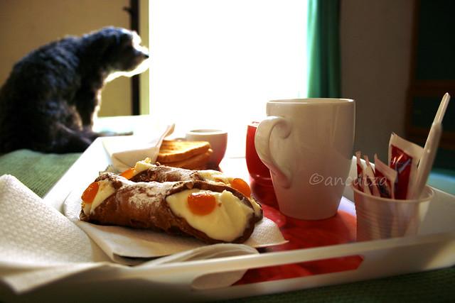 foto colazione con cannoli siciliani