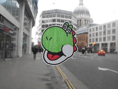 Yoshi Sticker near St. Pauls Cathedral (RetroGraffiti) Tags: street blue school red orange black west green london art sorry yellow wall gold graffiti town sketch purple yorkshire mario retro holy your croft elite illegal council about dedicated yoshi keighley quaser