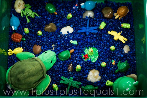 Pond Sensory Bin (Photo from 1+1+1=1)