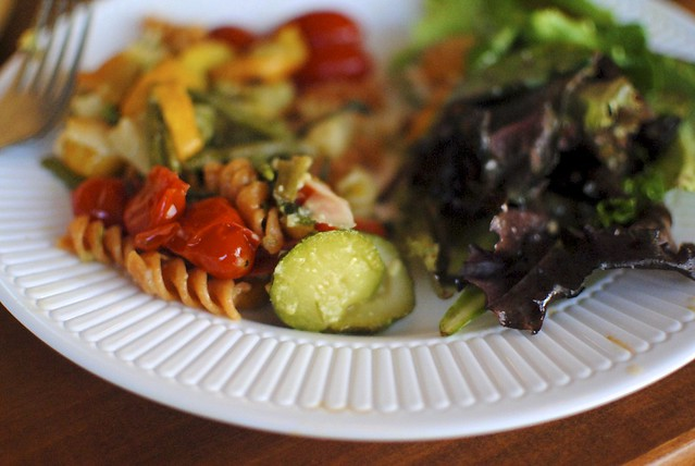 roasted veggie pasta and simple salad
