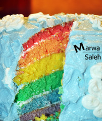 Sky and the rainbow .. (Marwa Alismail) Tags: sky colors cake rainbow كيكه