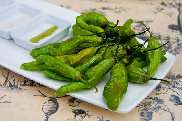 Shishito peppers with four salts (green tea, yuzu, seaweed, wasabi), Do or Dine