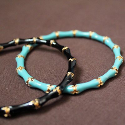 fashionarchitect.net kenneth jay lane turquoise an d black bamboo bangles