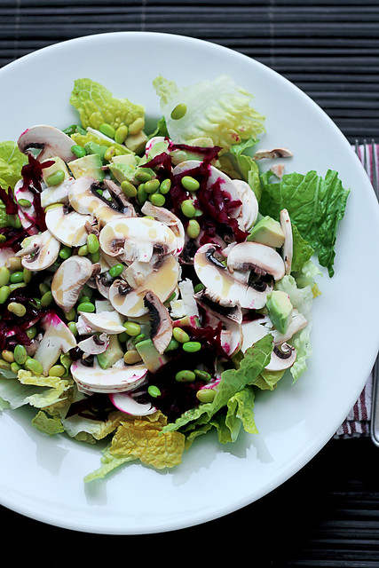 White Mushrooms, Beetroots and Edamame Beans